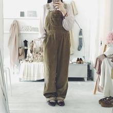 used beige corduroy salopette pants