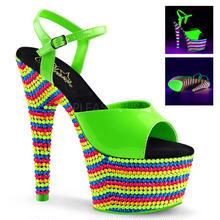 【お取り寄せ】【Pleaser】ADORE-709RBS Neon Green Pat/Neon Multi はじけるビタミンカラー!プリーザ 厚底 ヒール サンダル キャバ