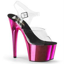 【お取り寄せ】【Pleaser】ADORE-708    Clr/H. Pink Chrome 発色抜群のメタリック!プリーザ 厚底 ヒール サンダル キャバ