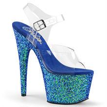 【お取り寄せ】【Pleaser】ADORE-708LG  Clr/Blue Holo Glitter グリッターラメがきれい!プリーザ 厚底 ヒール サンダル キャバ