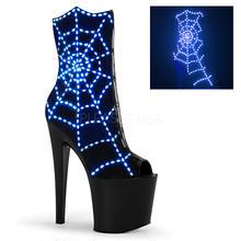 【お取り寄せ】【Pleaser】TABOO-1008WEB Blk Lamy-Blue Lights/Blk Matte暗闇で光る!ステージで視線独占!プリーザ 厚底 ヒール サンダル キャバ