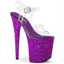 【お取り寄せ】【Pleaser】FLAMINGO-808LG  Clr/Purple Holo Glitter, グリッターラメがきれい!プリーザ 厚底 ヒール サンダル キャバ