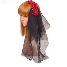 【LuxuryRose】真っ赤な薔薇付きブラックベールカチューシャ
