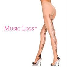 【MUSIC LEGS】 バックレースアッププリント  ストッキング
