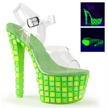 【お取り寄せ】【Pleaser】SKY-308UVTL  Clr/Neon Green,ブラックライト対応!プリーザ 厚底 ヒール サンダル キャバ