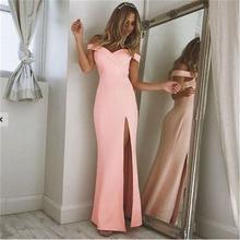 【LuxuryRose】SEXYオフショルダー*スリット入りストレッチロングドレス