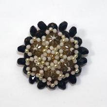 ブラックカラーの花のブローチ(BR0013)