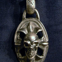 Skull On Cross Oval With H.W.O Pendant[P-23]