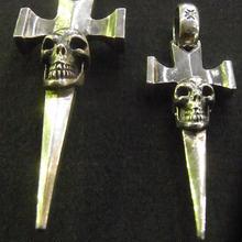 Single Skull Dagger Square Bottom & H.W.O Pendant[P-190]