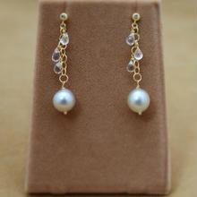 South Sea Pearl&White Topaz Earrings