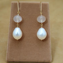Pink Chalcedomy&F.W.Pearl Earrings