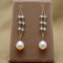 WhiteTopaz&F.W.Pearl Design Earrings