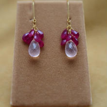 Ruby&Rose Quartz Chapeau Earrings