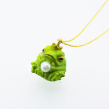 カエルの王子様ネックレス 黄緑(チェーン45cm)