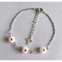 small eyeブレスレット 3目玉 ピンク