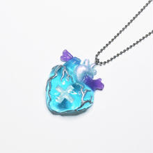 メディカルハート心臓ネックレス 水色(チェーン約60cm)