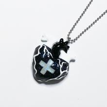 メディカルハート心臓ネックレス 黒白(チェーン約60cm)