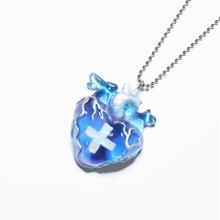 メディカルハート心臓ネックレス 水色×ピンク(チェーン約60cm)