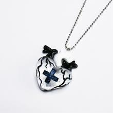 メディカルハート心臓ネックレス 白黒(チェーン約60cm)