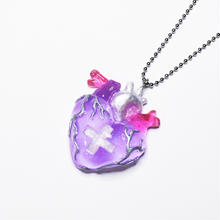 メディカルハート心臓ネックレス 紫(チェーン約60cm)
