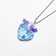 メディカルハート心臓ネックレス 水色×紫(チェーン約60cm)