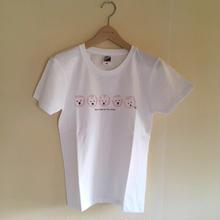 LadiesTシャツ 5人の白ワンコ Pink