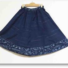 藍色紬×藍色ジャカード着物リメイクギャザーフレアスカート57