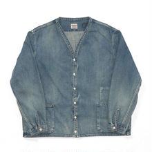 Denim Shirt Cardigan (Hard Washed)