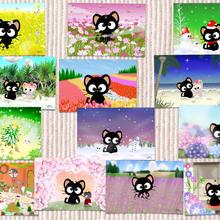 黒猫りっちー君ポストカードセット(13枚入り)