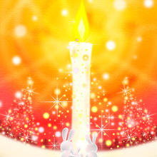 A4イラスト124 Snow Candle Light