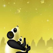 A4イラスト037 パンダの星
