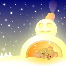 A4イラスト003 雪だるまハウス