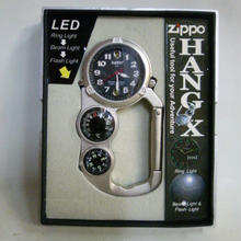 【中古】 Zippo HANG X 時計 方位磁石 コンパス 温度計 LED ライト  183-26SK