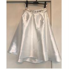 SALE50%OFF❣️フラワービジューベルト付きスカート白