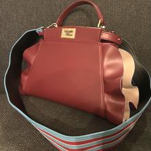 SALE60%OFFフリル本革バッグ23cmあずき色フリルベージュ縁取り水色