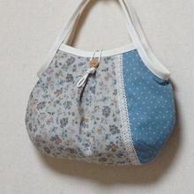 ぷっくりグラニーバッグ*水色水玉×小花柄