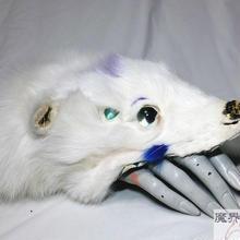 四つ目獣のブレスレット(白・紫)