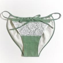 Hemp organic cotton前結びあったかshorts(よもぎ蒸し、カイロポケット付)【F】緑/白レース