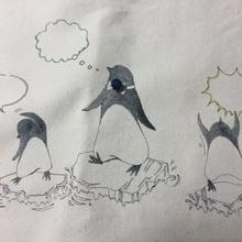 キャンパス地トート(Lサイズ)ペンギンたち