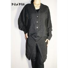 KMRii ・ケムリ・Shrunken Linen Dolman Shirt 02 LG・レディース シャツ・BLK