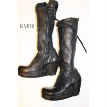 KMRii (ケムリ)ロング ブーツ (サイズ 37) CRUSH LONG BOOTS