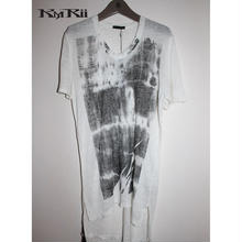 KMRii ・ケムリ・SIDE SHIRRING  CUT-02/SS・ メンズカットソー・ホワイト