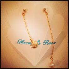 shell chain&a pearl earrings...❤︎