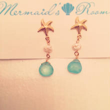 K14GF starfish& calcedony earrings...❤︎