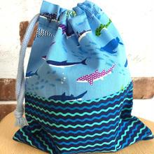 新作❣️コップ袋・波にお魚(サメ)