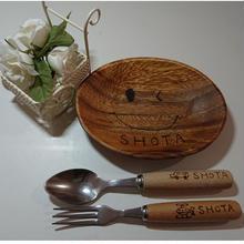お名前入りオンリーワン3点セット小♡ステンレス木柄スプーン&フォークは絵柄17種類より