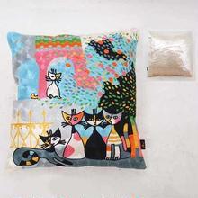 刺繍クッション(45×45) ロジーナ「ファミリー」 商品番号:is1087-rc-57