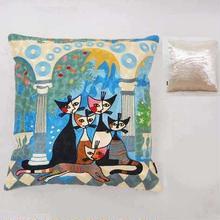 刺繍クッション(45×45) ロジーナ「ビバファミリー」 商品番号:is1087-rc-43