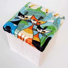 刺繍スツール(30×30×30) ロジーナ「カラーと仲間」 商品番号:is1087-rs-29