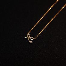 ゴールドネックレス リボン K18 ダイヤ